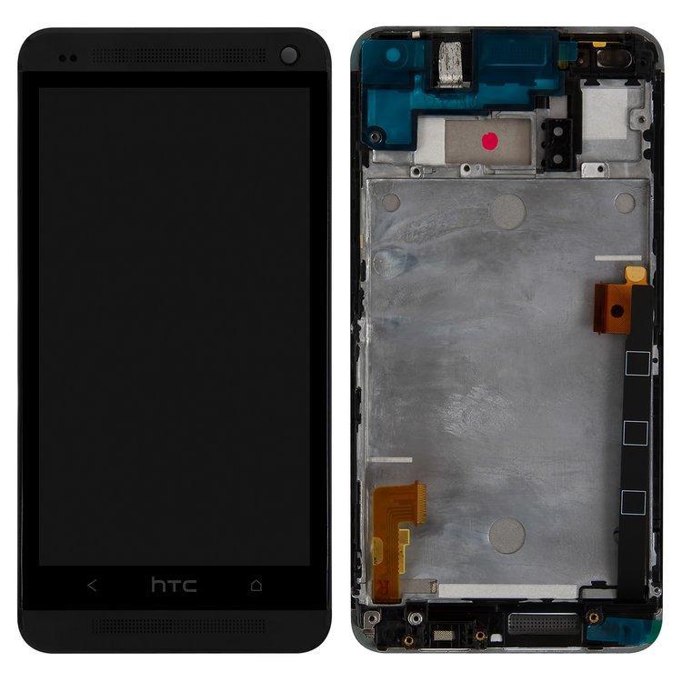 Дисплей (LCD) HTC One M7 Dual Sim 802w с тачскрином и рамкой, чёрный
