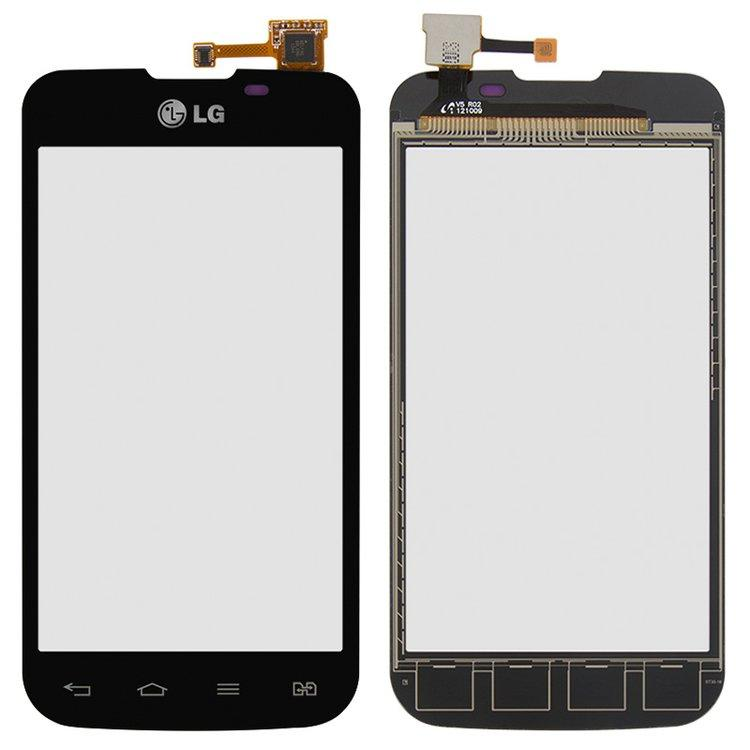 Сенсорный экран (тачскрин) LG E455 Optimus L5 чёрный оригинал (PRC)