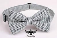 Светло-серая твидовая галстук-бабочка, фото 1