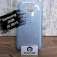 Блестящий силиконовый чехол для Samsung J5 (J500) 2015 Голубой