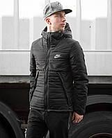 Мужская зимняя куртка Найк, курточка Nike черная с капюшоном, реплика