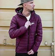 Мужская зимняя куртка Найк, курточка Nike фиолетовая с капюшоном, реплика