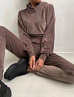Жіночий костюм стильний з велюру з укороченою кофтою (Норма), фото 4
