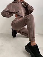 Жіночий костюм стильний з велюру з укороченою кофтою (Норма), фото 5