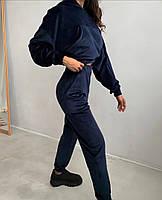 Жіночий костюм стильний з велюру з укороченою кофтою (Норма), фото 10