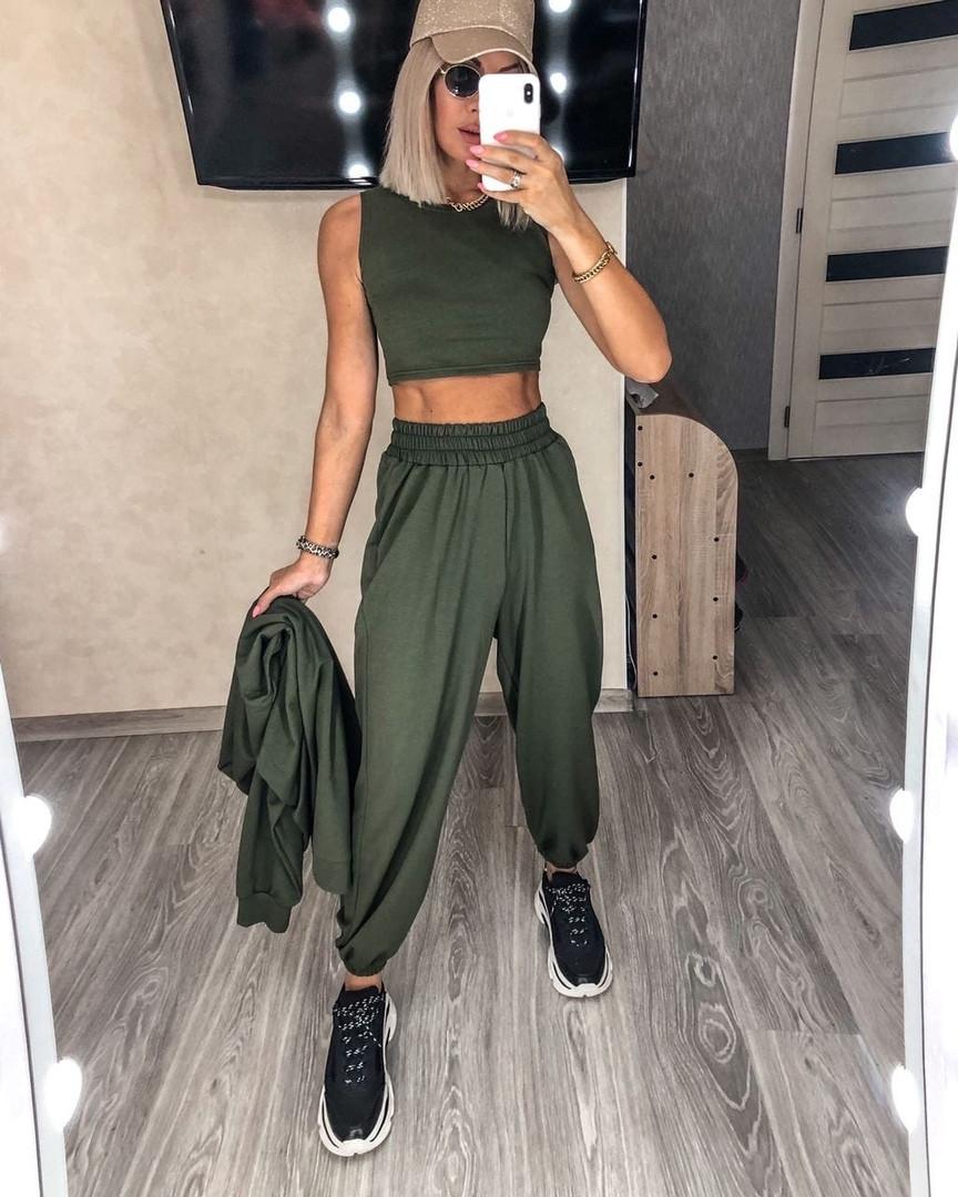 Стильный женский спортивный костюм с топом,брюками и худи (Норма)