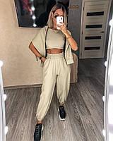 Стильный женский спортивный костюм с топом,брюками и худи (Норма), фото 3