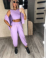 Стильный женский спортивный костюм с топом,брюками и худи (Норма), фото 6
