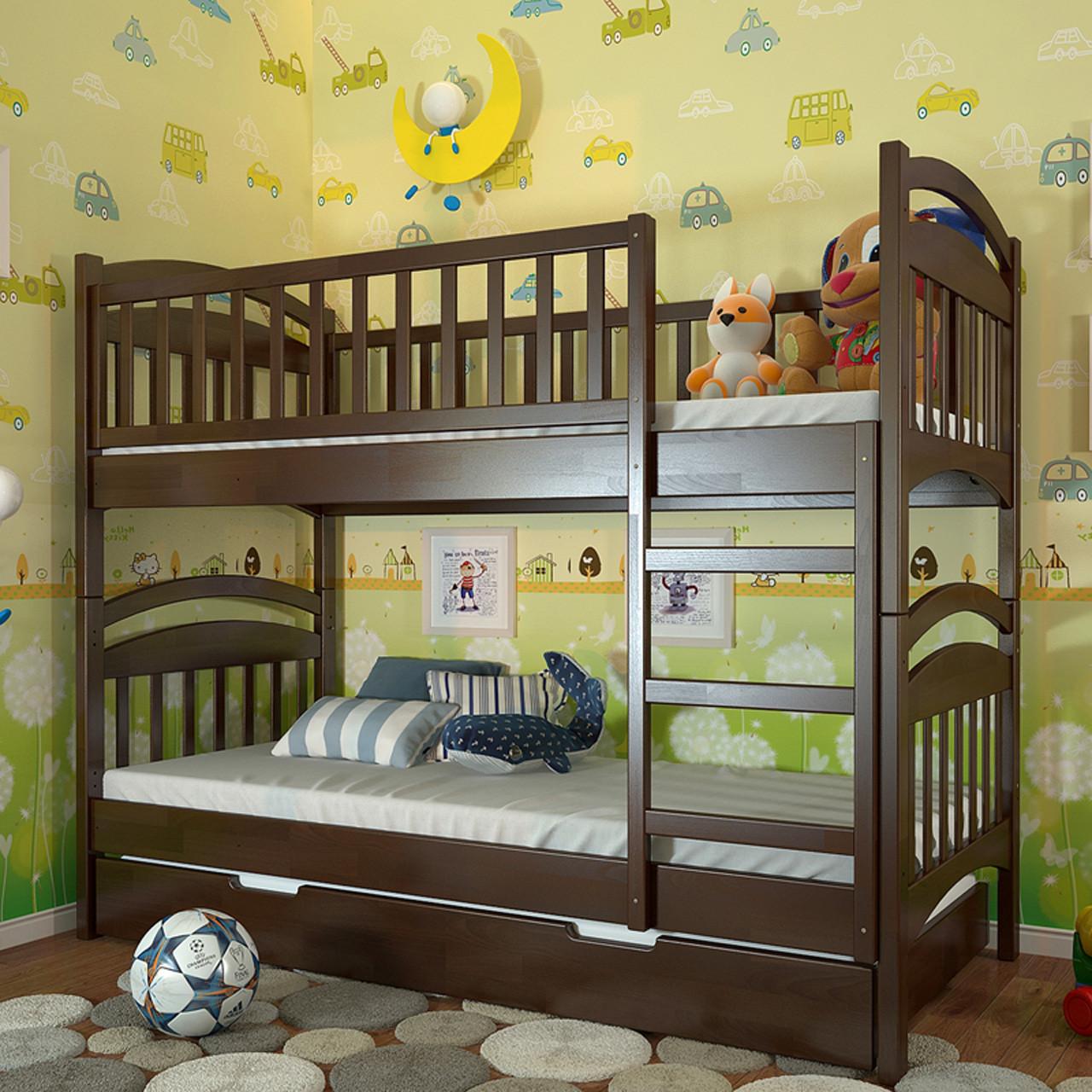 Кровать двухъярусная деревянная  Смайл