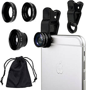 Универсальные линзы для телефона (объективы) 3 в 1 - FishEye, Super Wide, Macro Lens