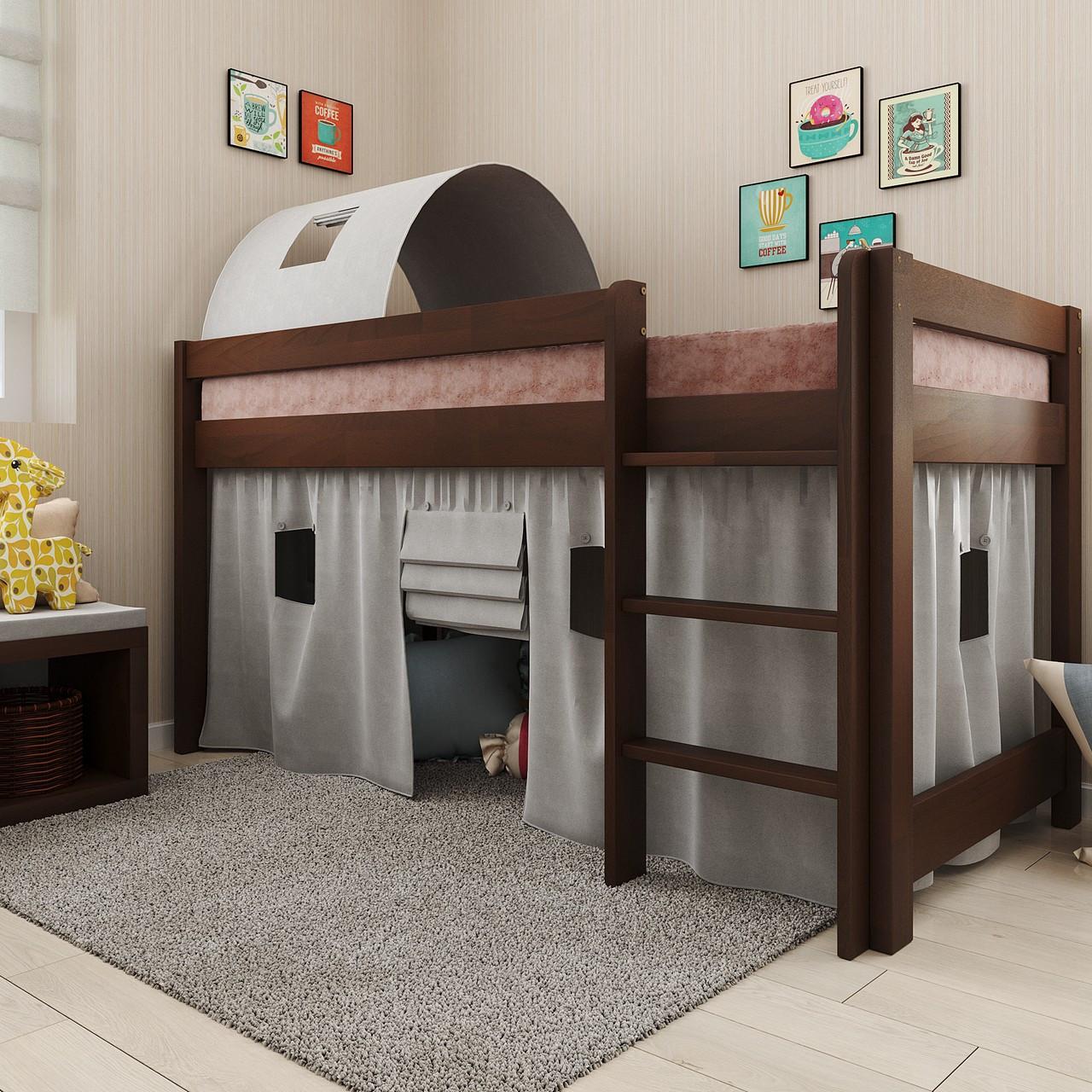 Ліжко дитяче дерев'яне Адель зі шторками