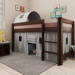 Кровать детская деревянная Адель со шторками