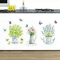 Наклейка на стену на кухню обои мебель Цветок
