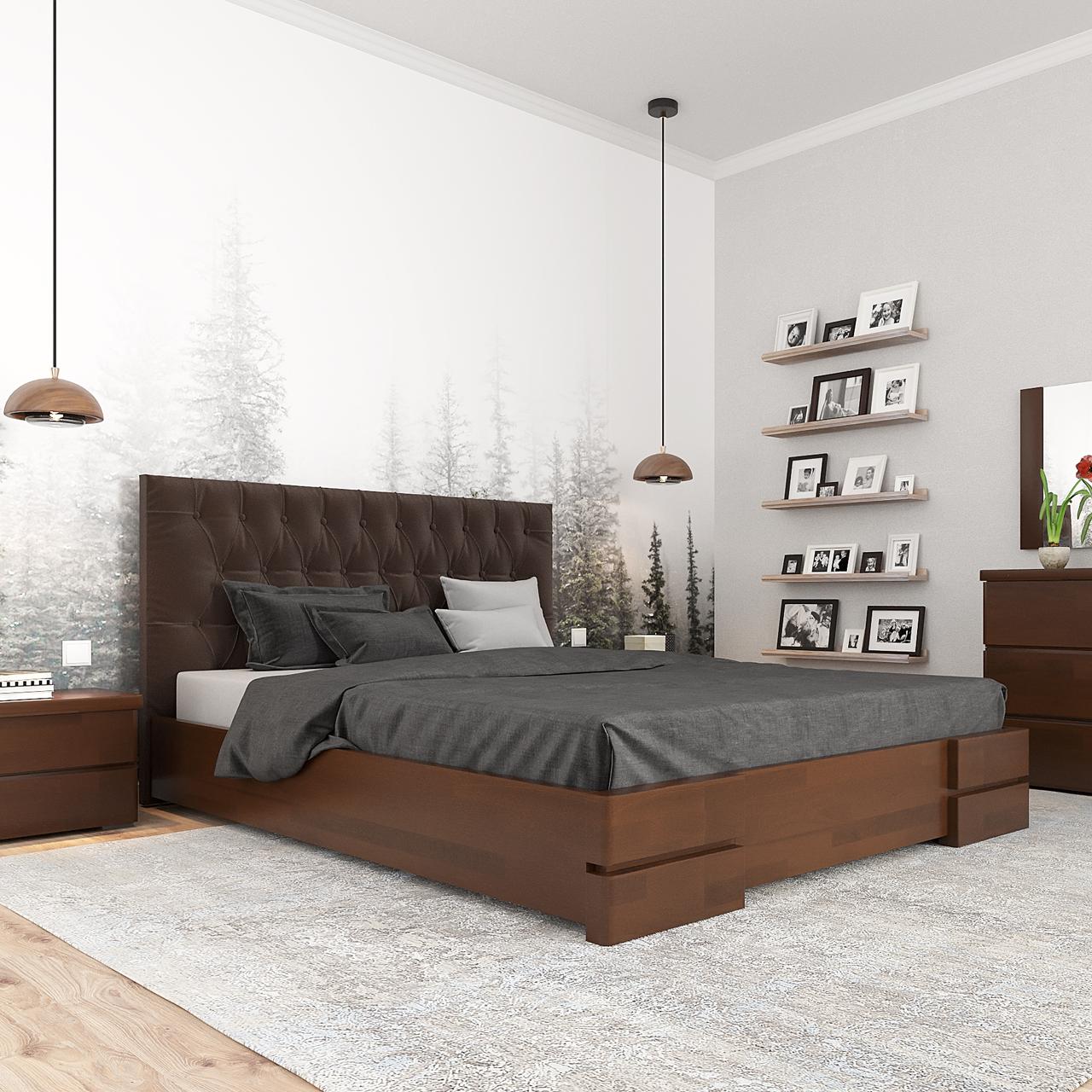 Кровать деревянная двуспальная Камелия с подъемным механизмом