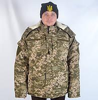 Теплый армейский камуфлированный бушлат с капюшоном Пиксель нового образца
