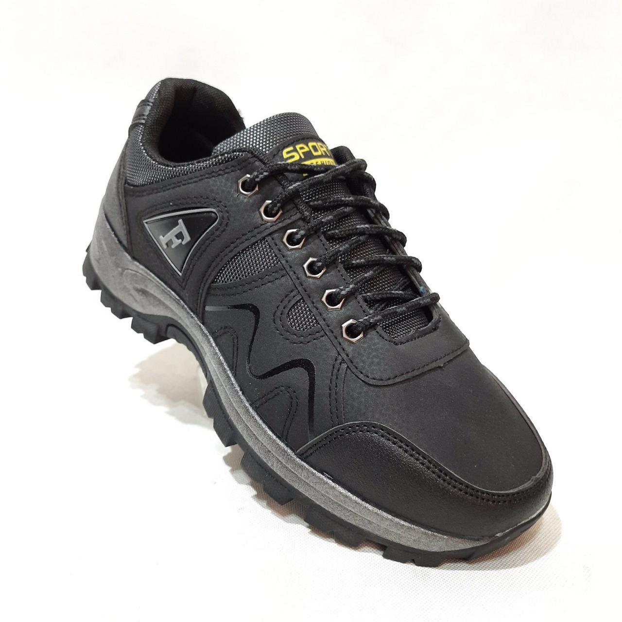 Мужские кроссовки р. 41,43 Sport fashion / искусственная кожа  / Черные
