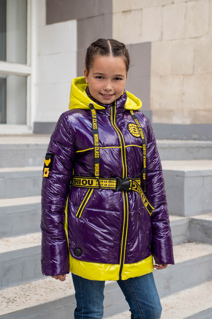 Куртка демисезонная на девочку подростка 34-44 фиолетовый
