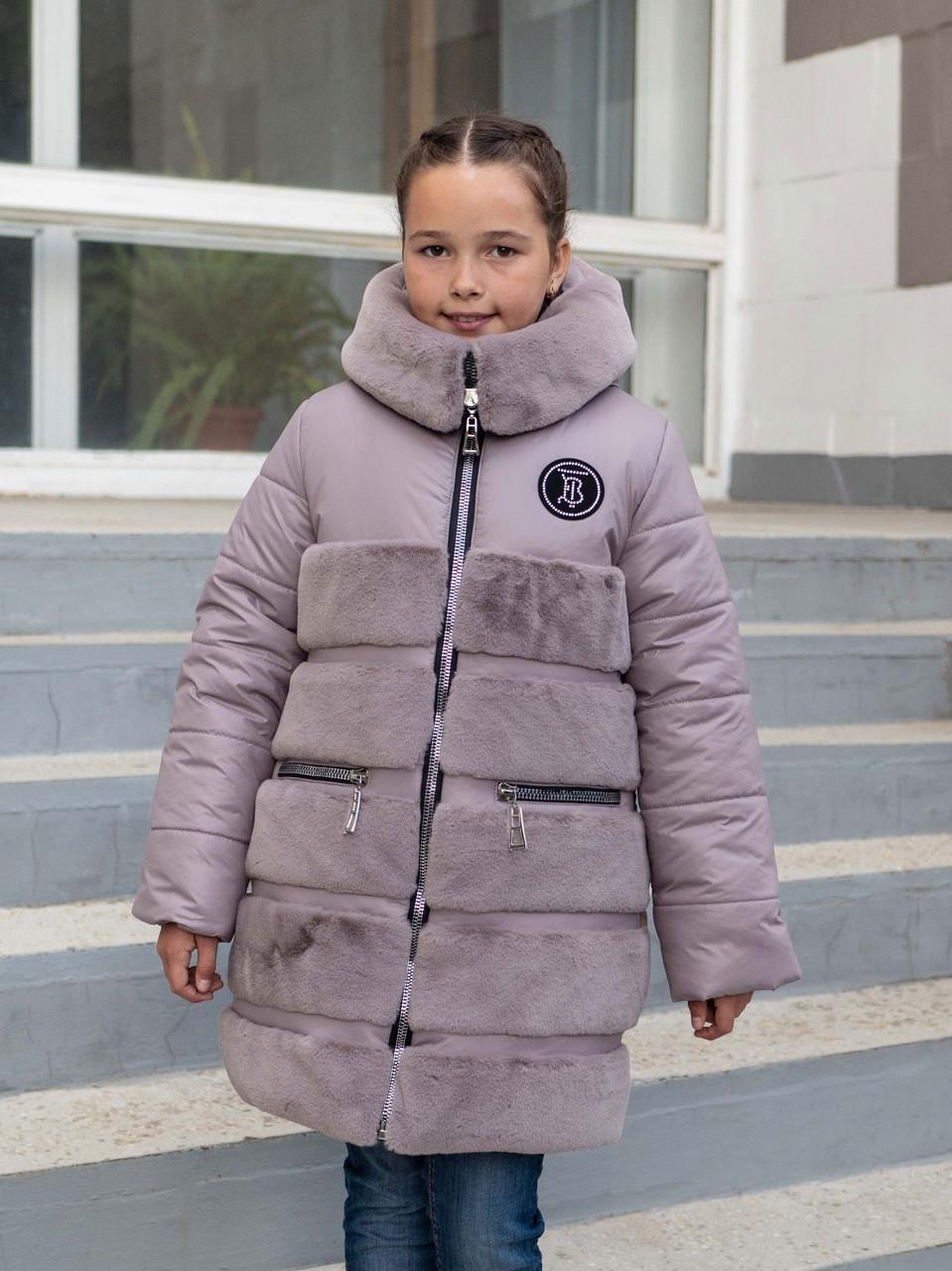 Пальто для девочки зимнее   от производителя   32-42 темная пудра