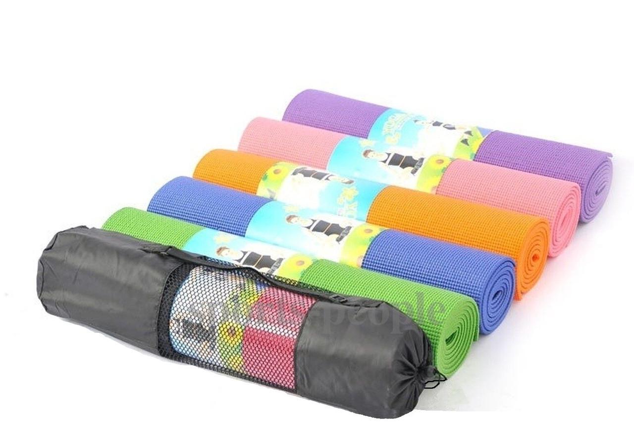 Коврик для йоги и фитнеса, PVC, 173*61*0.4 см, разн. цвета + чехол в подарок!