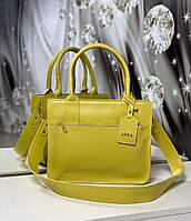 Женская сумка классическая прямоугольная на плечо каркасная офисная яркая желтая экокожа, фото 1