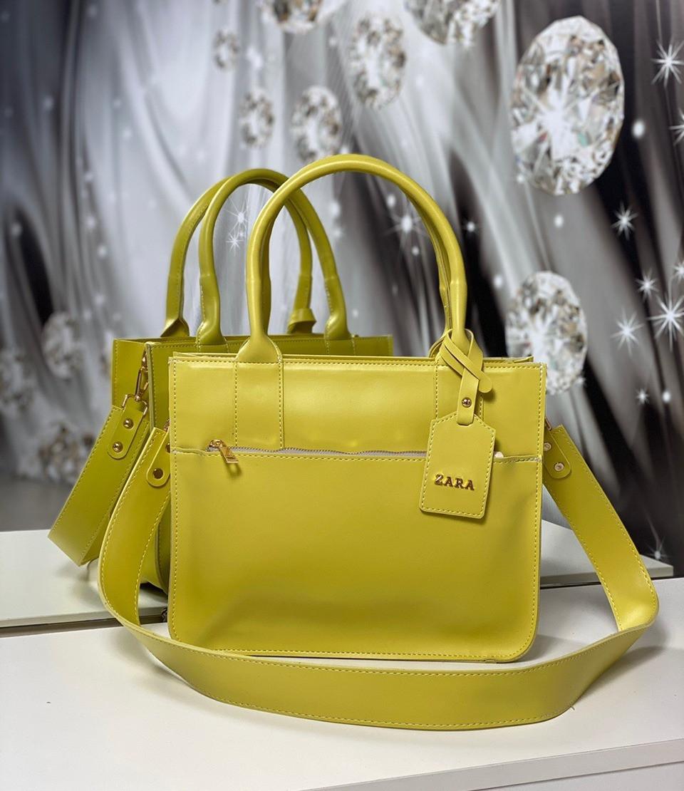 Женская сумка классическая прямоугольная на плечо каркасная офисная яркая желтая экокожа