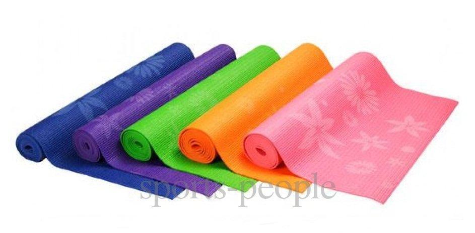 Коврик для йоги и фитнеса Flowers, PVC, 173*61*0.6 см, разн. цвета + чехол в подарок!