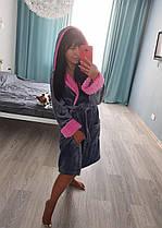Теплый женский короткий серый махровый халат, фото 2