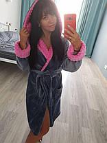 Теплый женский короткий серый махровый халат, фото 3