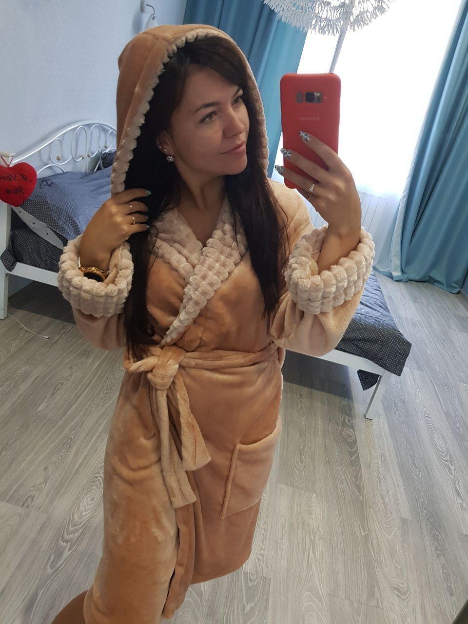 Жіночий теплий махровий домашній халат пісочного кольору