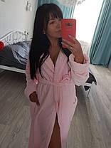 Теплый женский плюшевый халат с капюшоном, фото 3