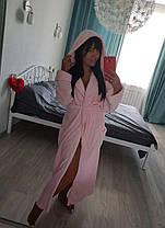 Теплый женский плюшевый халат с капюшоном, фото 2