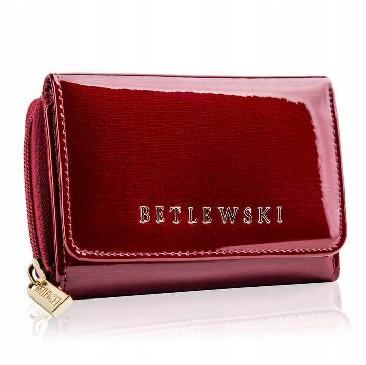 Жіночий шкіряний гаманець Betlewski з RFID 12 х 8,8 х 3 (BPD-BS-930) - червоний