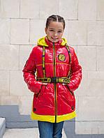 Куртка для девочки подростка удлиненная 34-44 красный+желтый