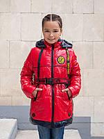 Куртка на подростка девочка осенняя 34-44 красный+черный