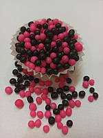 Рисовые шарики в шоколадной глазури, черно- розовые