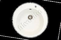 Каменная кухонная мойка, круглая, белая