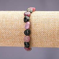 Браслет из натурального камня Турмалин галтовка d-9х11(+-)мм на резинке обхват 18см купить оптом в интернет