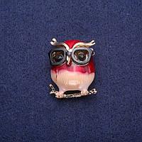 Брошь Сова в очках эмаль, золотистый металл 24х29мм купить оптом в интернет магазине