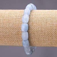 Браслет из камня Аквамарин (им) боченок d-9х10(+-)мм на резинке обхват 18см купить оптом в интернет магазине