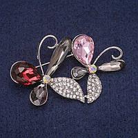 Брошь Цветочек в кристаллах, серебристый металл 34х51мм купить оптом в интернет магазине