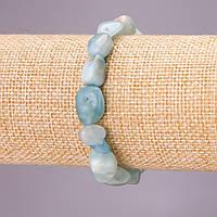 Браслет из натурального камня Аквамарин на резинке галтовка d-10х12(+-)мм обхват 18см купить оптом в интернет