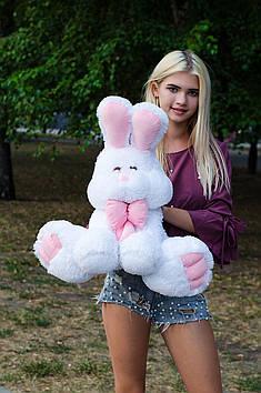 Плюшевый зайка Роджер 60 см Белый