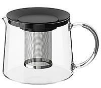 Чайник заварочный 1,5 л IKEA RIKLIG стеклянный заварник ИКЕА РИКЛИНГ
