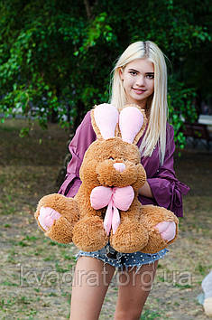 Плюшевий Зайчик Роджер 60 см Коричневий з рожевим