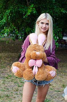 Плюшевый зайка Роджер 60 см Коричневый с Розовым