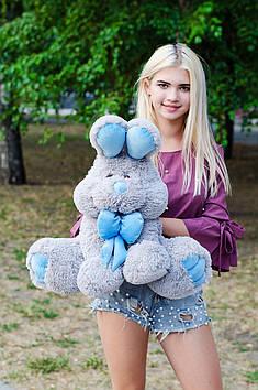 Плюшевий Зайчик Роджер 60 см Сірий з блакитним