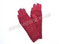 Зимние женские перчатки бордовые с довязом