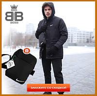 Парка мужская зимняя с капюшоном теплая, комплект куртка штаны Winter Parka черный + Подарок