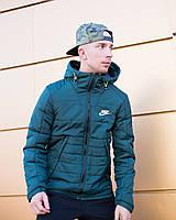 Мужская зимняя куртка Найк, курточка Nike синяя с капюшоном, реплика