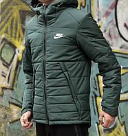 Мужская зимняя куртка Найк, курточка Nike зеленая с капюшоном, реплика
